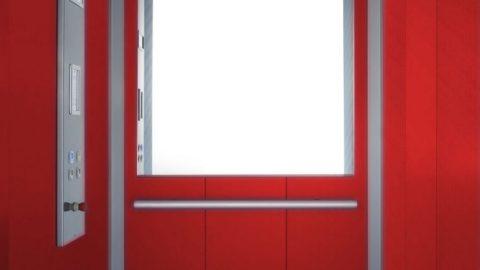 Cabina con interni in laminato rosso